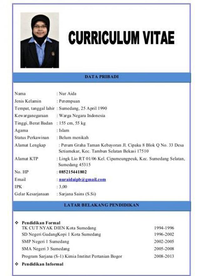 Contoh CV Lengkap