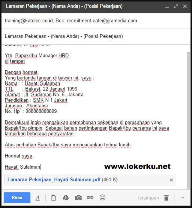 Contoh CV Lewat Email