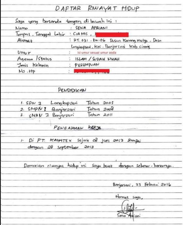 Contoh Daftar Riwayat Hidup Tulis Tangan
