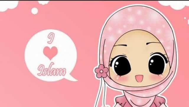 gambar kartun muslimah pink