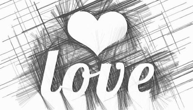 gambar love hitam putih