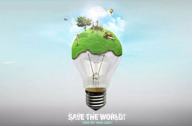 energy saving posters, save the world turn off the light