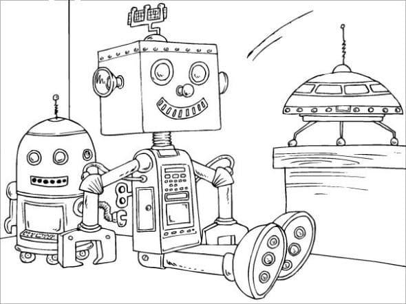 mewarnai gambar robot
