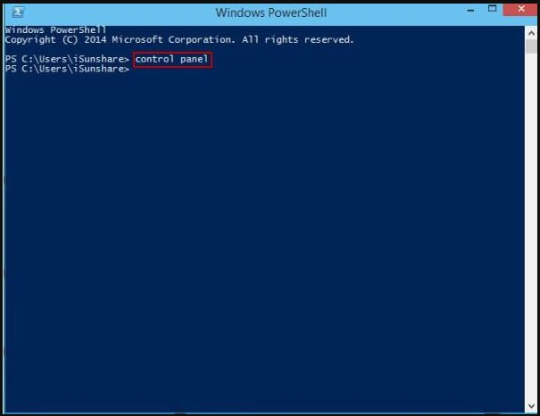 How to open control panel in W10