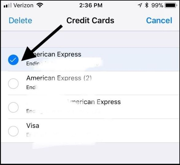 remove credit card in your iPhone mobile