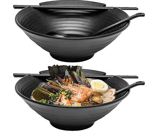 Black Melamine Ramen Bowl Set